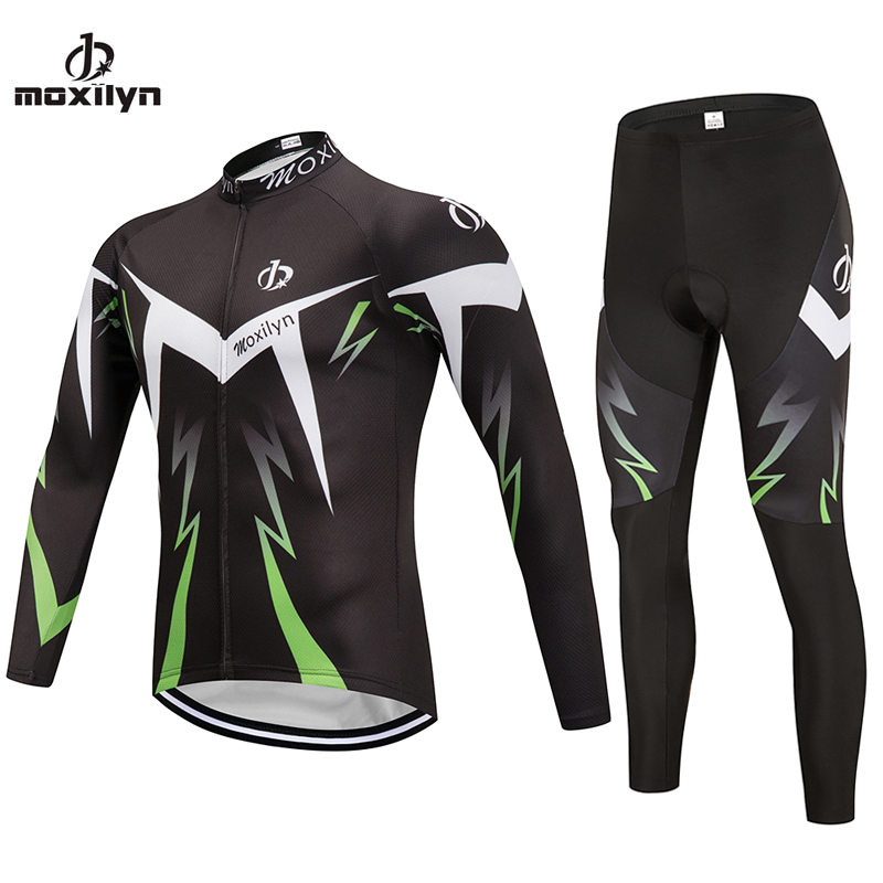 MOXILYN Brank Cycling Bicycle Clothing Ropa Ciclismo Riding Wear Long Sleeve Bike Clothing Cycling Jersey Set Pants Tights