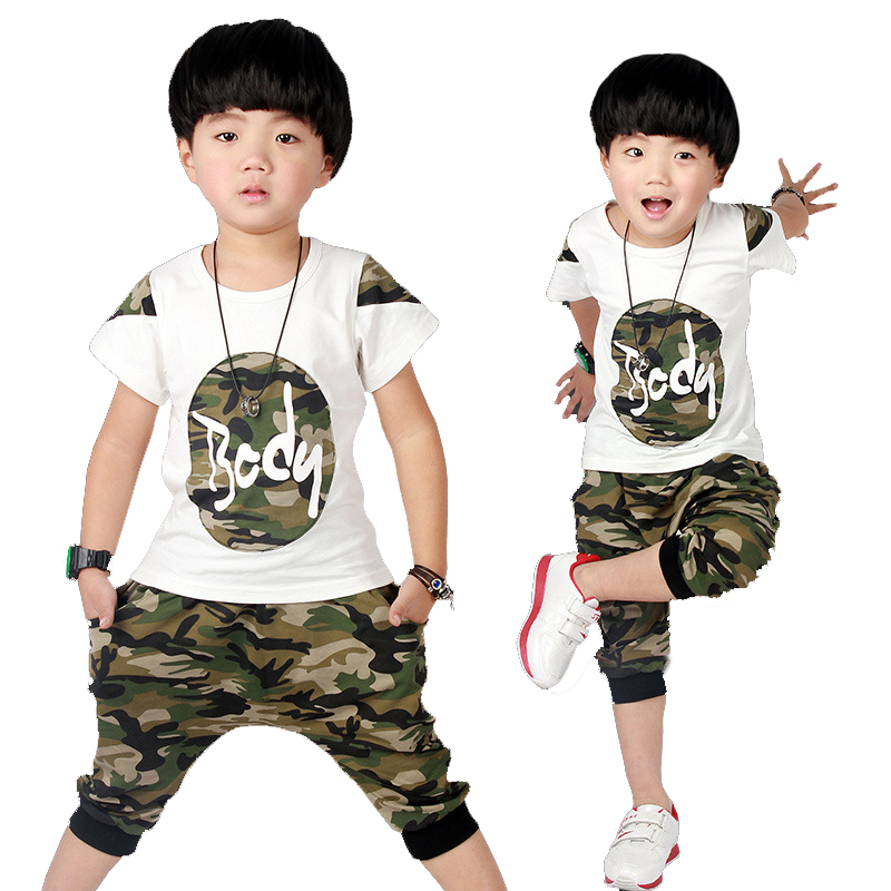 2017 Summer suits for boys Boy set camouflage kids hip hop clothing Boys summer set Cotton t-shirt+shorts 2pcs for 3 - 12 year