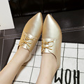Autumn And Winter New  Pointed Flat Casual Shoes golden Silver Women Flat Shoes Ladies Shoes simple single shoes