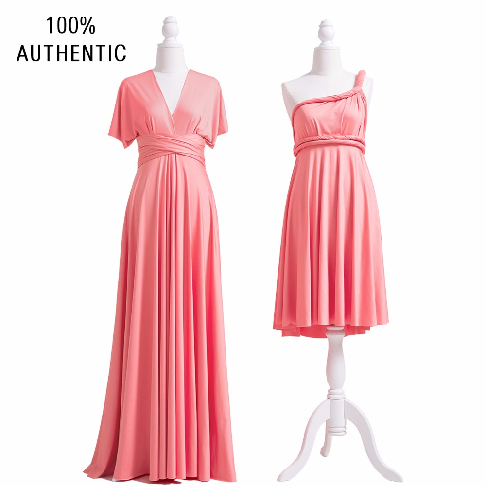 Coral Pink   Bridesmaid     Dress   Multiway Long   Dress   Plus Size Long   Dress   For   Bridesmaid   Infinity Wrap   Dress