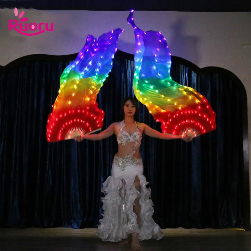 Ruoru 2 pieces 1 pair Belly Dance Led Silk Fan Veil 100 Silk Led White Rainbow