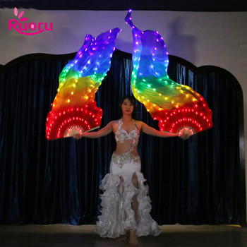 Ruoru 90*180cm Luminous Rainbow Light LED Fan Veils Bellydance Oriental Belly Dance Silk Fan Veil  for Women Dancing Costumes
