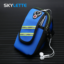 4-6 inches Mobile Phone Arm Bag Neoprene Waterproof Reflective Strip Unisex Sports Band For iPhone Samsung Xiaomi Huawei