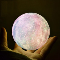 Colorful star Touch Dimmable Bedroom Decoration 10cm led 3D star moon lamp lighting
