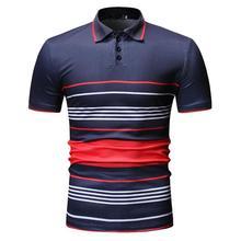 POLO Shirt Mens Tops Tees Stripe Business Leisure Clothes Men Polo Lapel collar Short sleeve Summer Navy Black