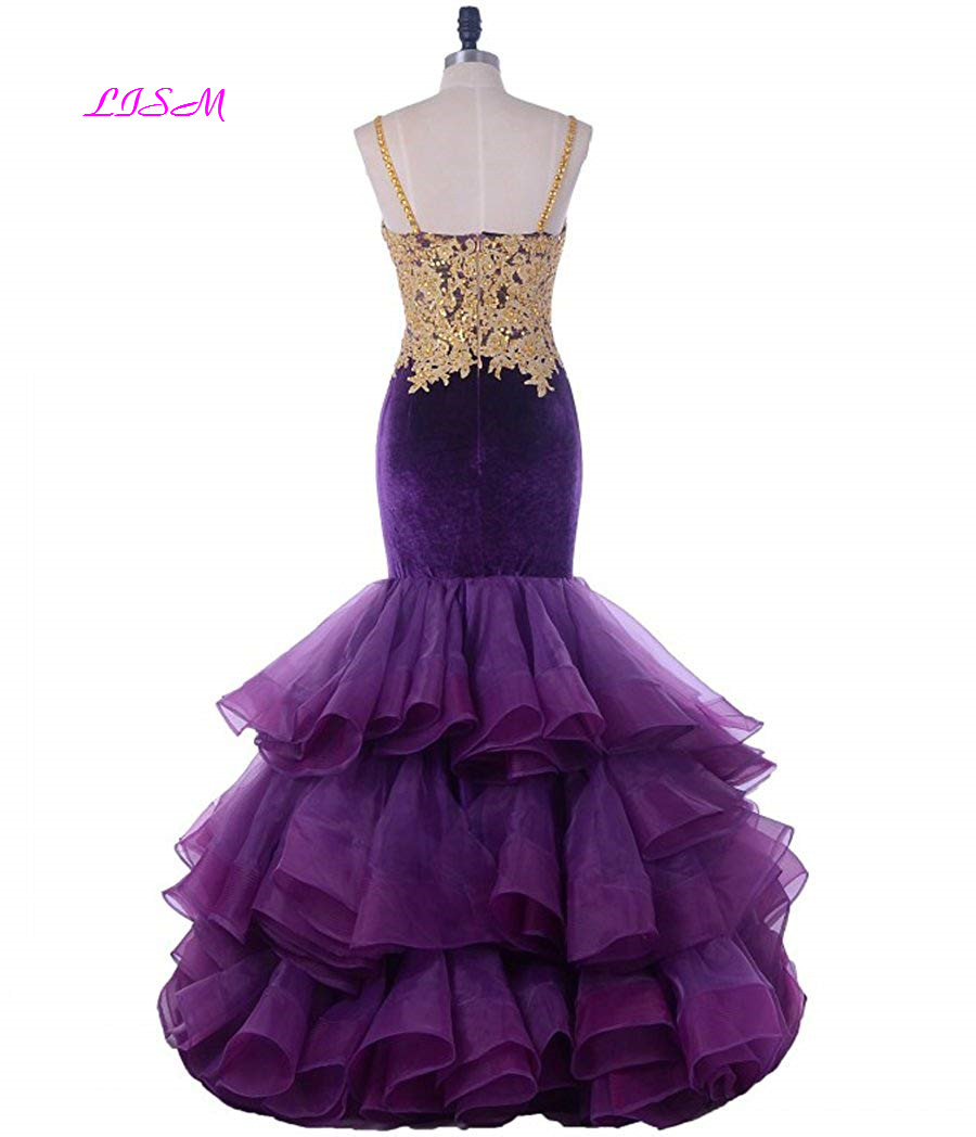 LISM Gold Appliqued Mermaid Prom Dress Sweetheart Straps Tulle Party Gowns Long Ruffled Zipper Back Velvet Evening Dresses 2019
