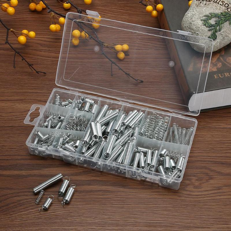 200pcs Steel Spring Extension Tension Pressure Springs Set Hardware Tools Springs Pressure Suit Metal Assortment Hardware Kit image