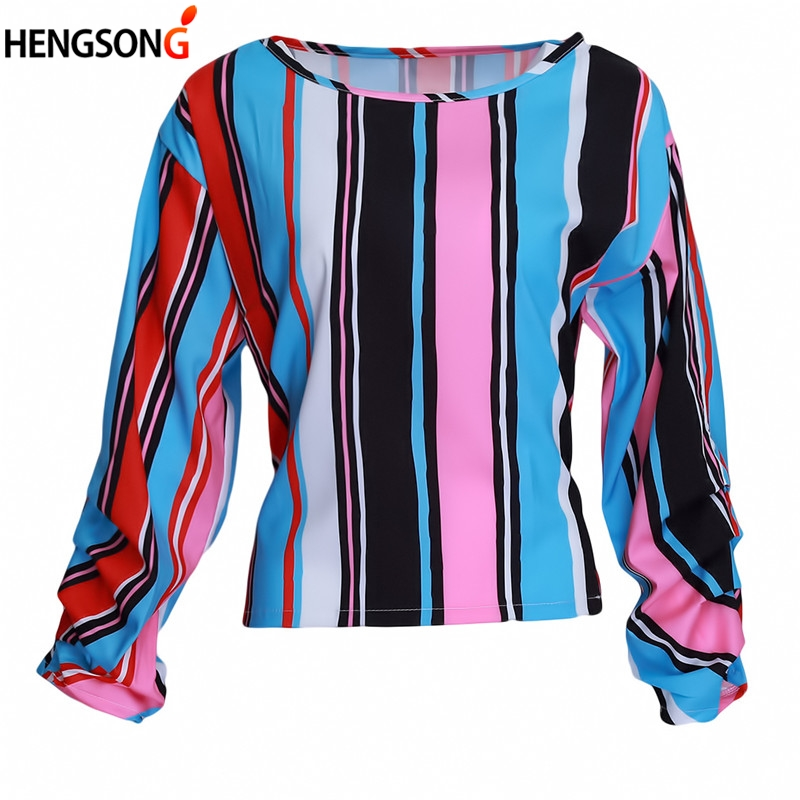 Fashion Women Shirts Tops Colorful Stripes Blouse Bow Puff Sleeve Shirt Bow-knot Striped Chiffon Blouse Women Tops Blusa