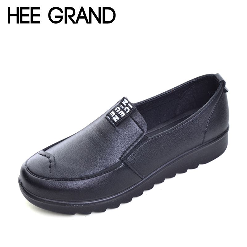 HEE GRAND PU Leather Shoes Woman Slip on Loafers Comfortable Mom Shoes Platform Flats Spring Solid Women Flats Size Plus XWD5537 hee grand spring platform women pumps with bowtie patent leather shoes woman round toe slip on loafers ladies footwear xwd5975