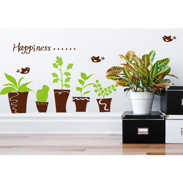 Potted green plant diy wall sticker fridge notebook sticker window sticker removable switch sticker child home