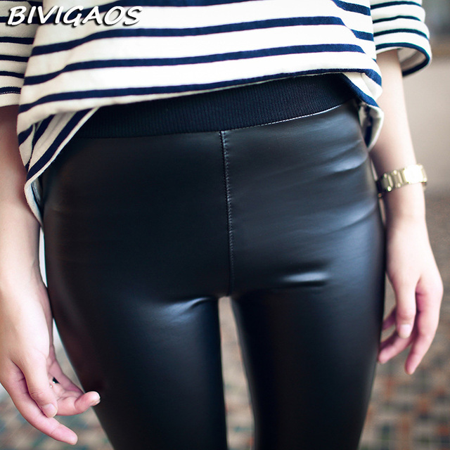 2016 Spring New Women Korean Waist Knitted Black PU Leather Leggings Push Up Matte Soft Light Leather Pants Thin Legigngs Women