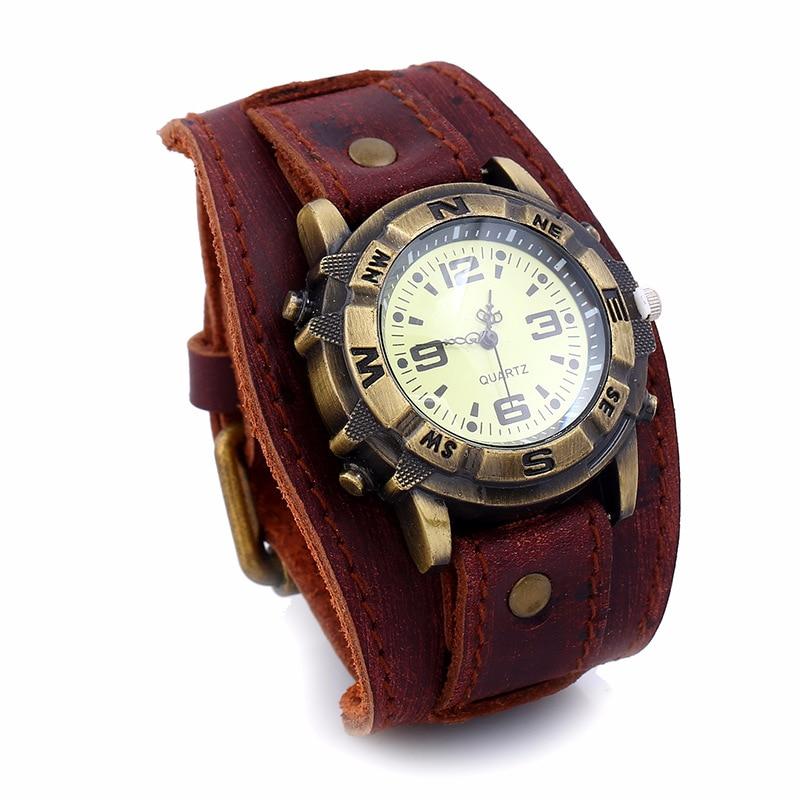 Pulseiras de relógio de metal do vintage para homens 3 cores couro genuíno charme pulseiras masculino punk moda jóias pulseira presentes