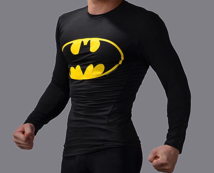 2d201622b New men sports gym t shirts men's fitness long sleeve superman/batman t  shirt quick dry compression tights esporte camisetas-in T-Shirts from Men's  Clothing ...