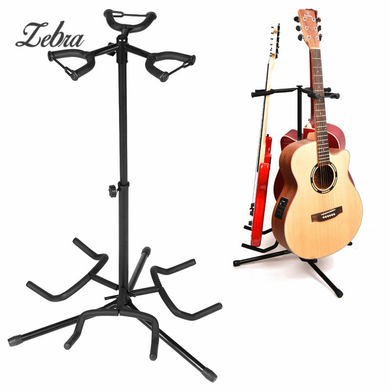 Zebra 3 Holder Iron Foldable Acoustic Electric Bass Guitar Guitarra Stand Holder Bracket Mount for Musical Instruments Parts foldable scratch proof anti skid guitar stand holder bracket mount universal for acoustic classical electric guitar ukulele bass