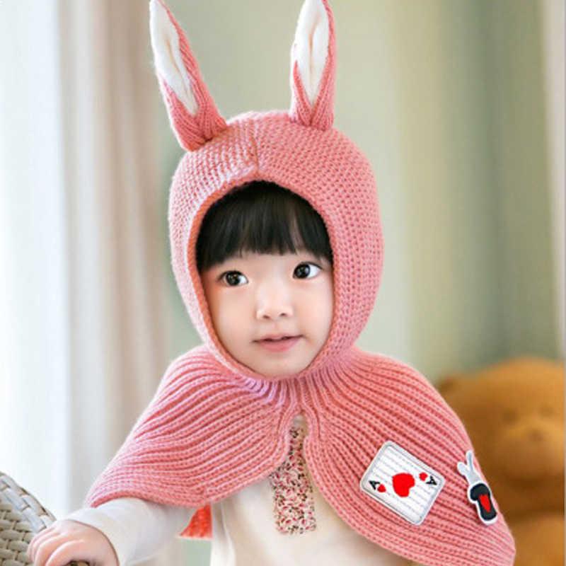 น่ารักฤดูใบไม้ร่วงฤดูหนาวทารกแรกเกิดเด็กทารกผ้าพันคอถักกระต่ายหูหมวกผ้าพันคอ Earflap เด็กเสื้อคลุม