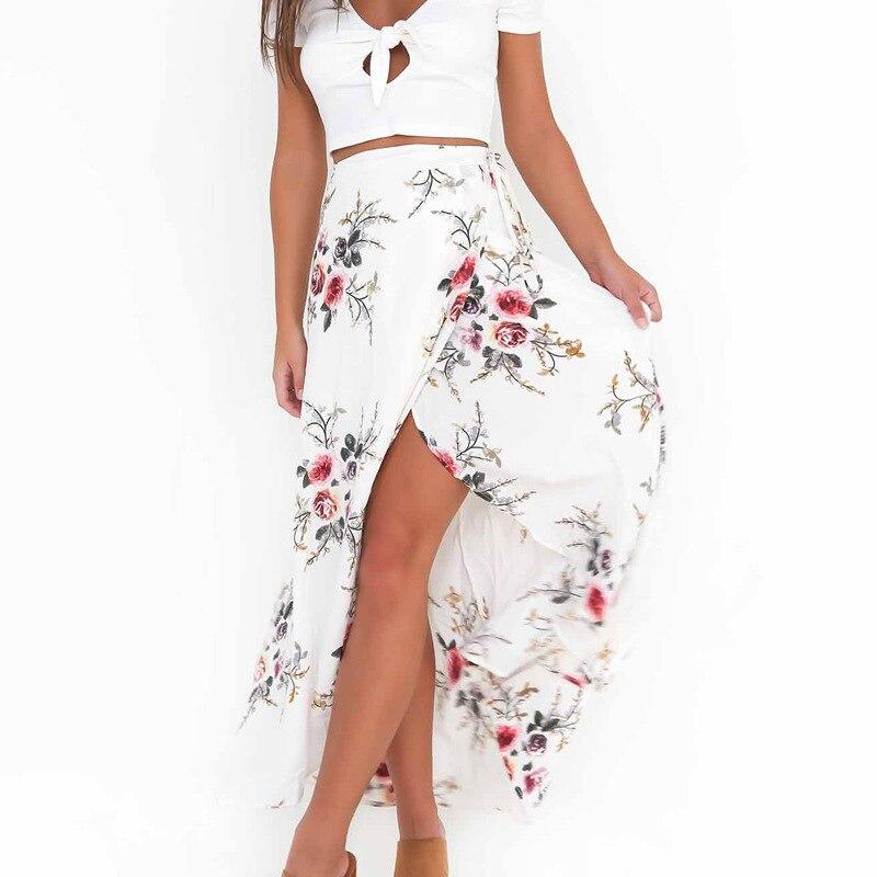 Margin Women White Irregular Long Skirt 2017 Summer Boho Vintage Floral Print Side Slit Wrap Maxi Skirt Girl Waist Skirts female
