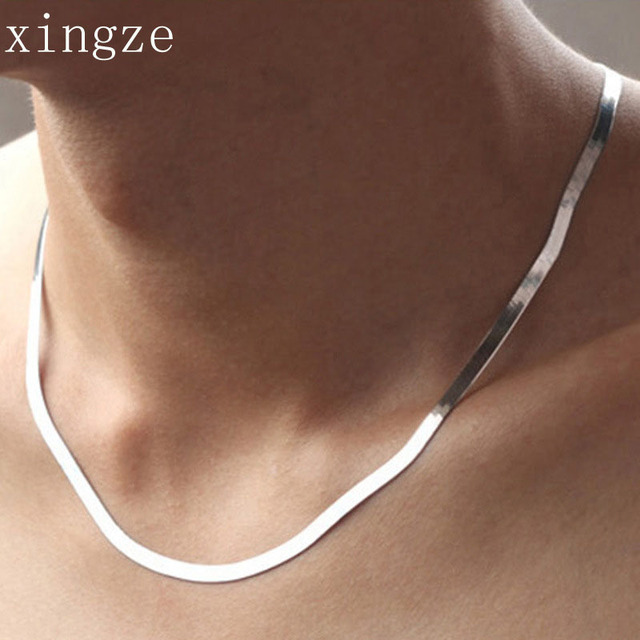 Silver plated necklace men and women short paragraph clavicle chain blade flat super soft snake chain fashion jewelry wholesale