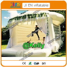 Free door shipping commercial white inflatable bouncy castle for wedding, inflatable wedding bouncer for sale, air bouncer house(China)