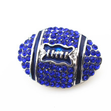 10pcs/lot metal rugy football with blue crystal ginger snap buttons for 18mm snap bracelet pendant diy jewelry
