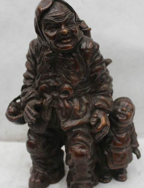 "12""Chinese Folk Bronze country village woman grandma And Grandson Statue
