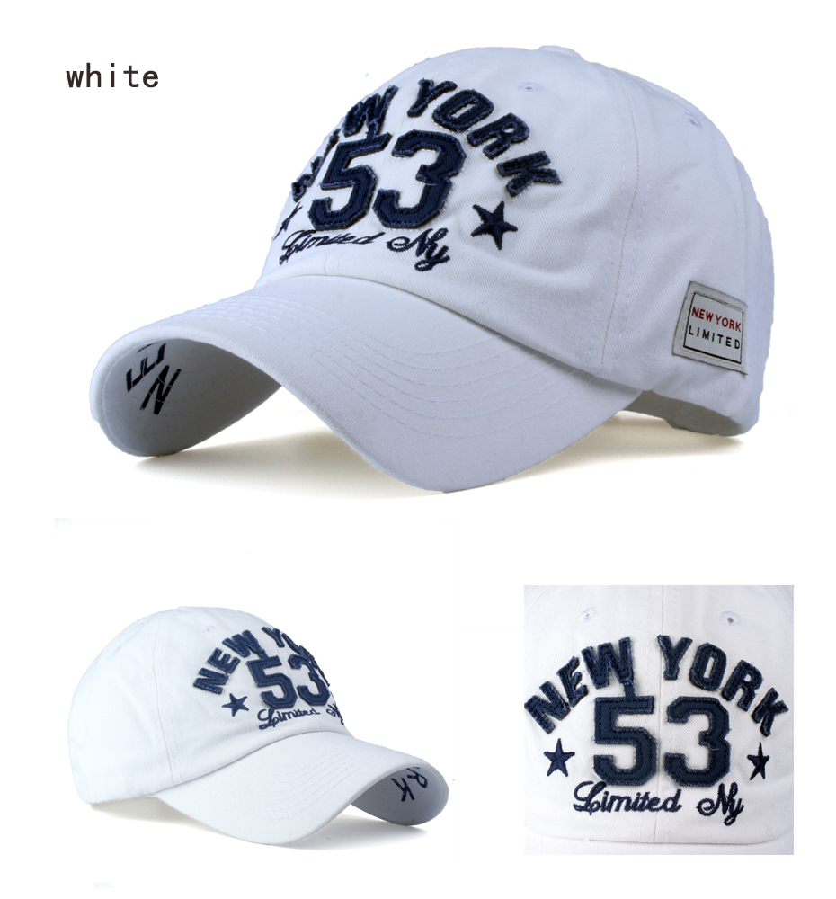Old Style New York Lettering Pre-washed Denim Baseball Cap - White Cap Detail Views