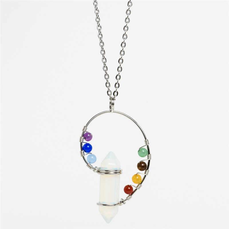 7 Chakra Stone Beads Pendant Necklace For Women Fashion Jewelry Stainless Steel Lobster Chain beaded Necklaces Choker Gift