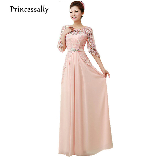 Aliexpress.com : Buy Pink Bridesmaid Dress Half Sleeve Lace ...