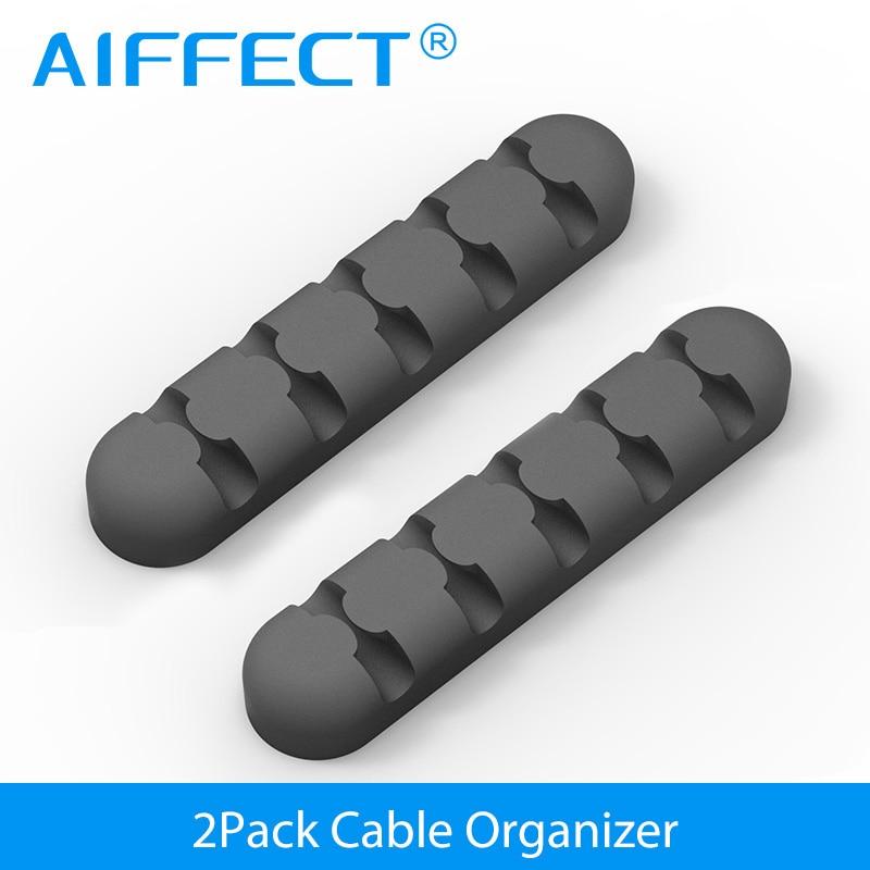 AIFFECT Silicone Cabo Winder Cable Organizer Fixer Fio Para Home Office Desktop 5 milímetros USB Cabo Organizador Clipes Com Adesivo