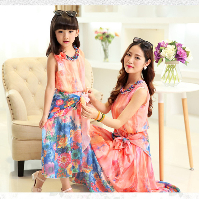 97cfe84a38 Family Matching Clothes for Summer Bohemian Beach Mom and Daughter Dress  Mother Daughter Dress Family Look