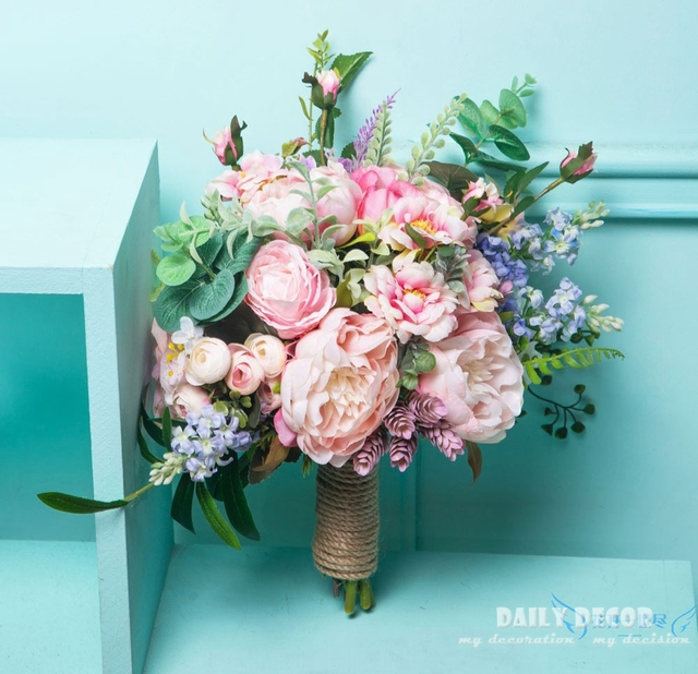 28cm Large Size Pink Color Artificial Flower Wedding Bridal Bouquet