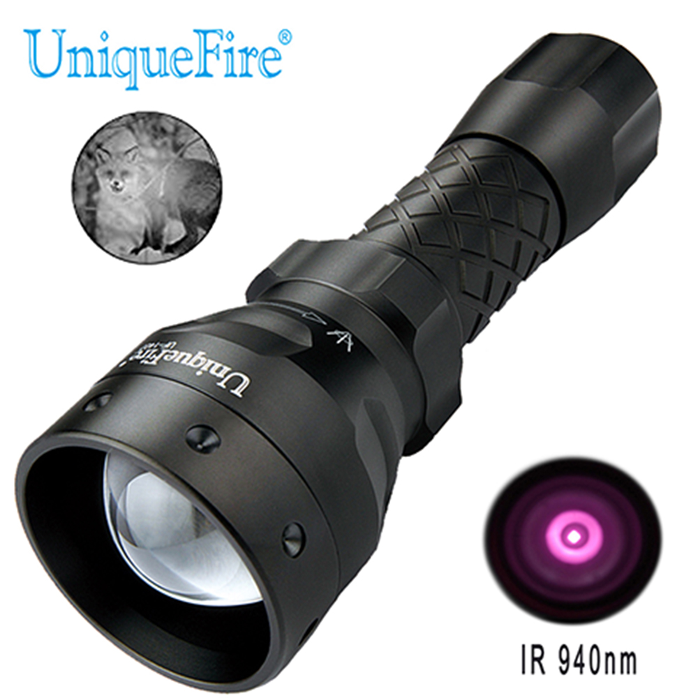 UniqueFire 1407 IR 940nm LED Flashlight Infrared Light 38mm Convex Lens Adjustable Focus Torch Tactical Night Vision Lanterna