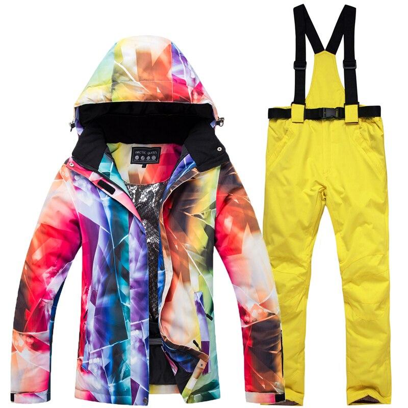 2019 inverno all'aperto antivento impermeabile 10 k modelli di tuta da sci femminile + bretelle dei pantaloni di ispessimento femminile invernale di sci impiallacciatura vestito