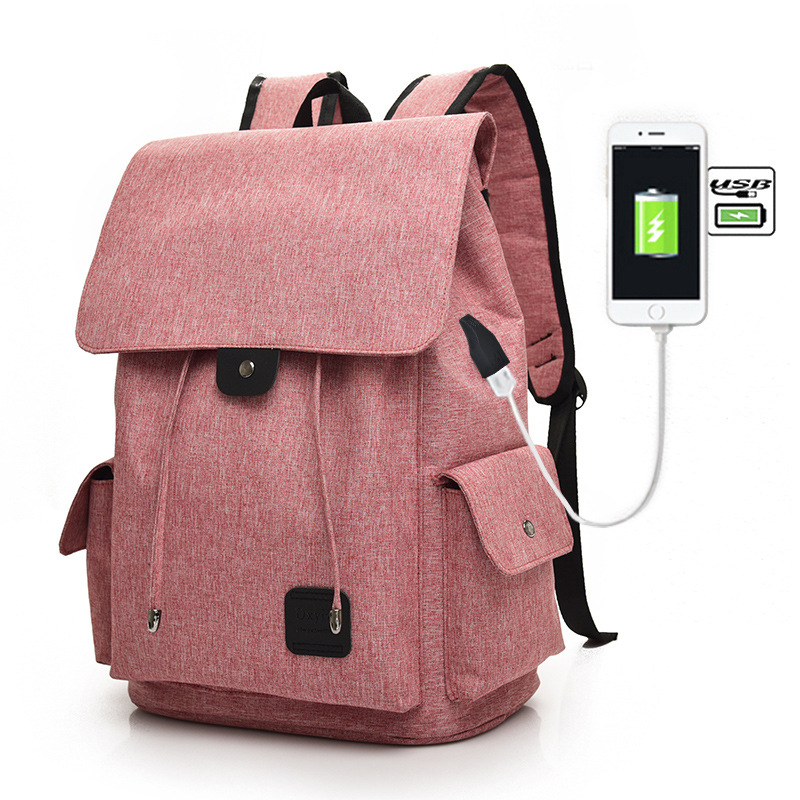 Unisex Laptop Backpack External USB Charge Travel Computer Backpacks Student School Bags for Teenage Girls Simple