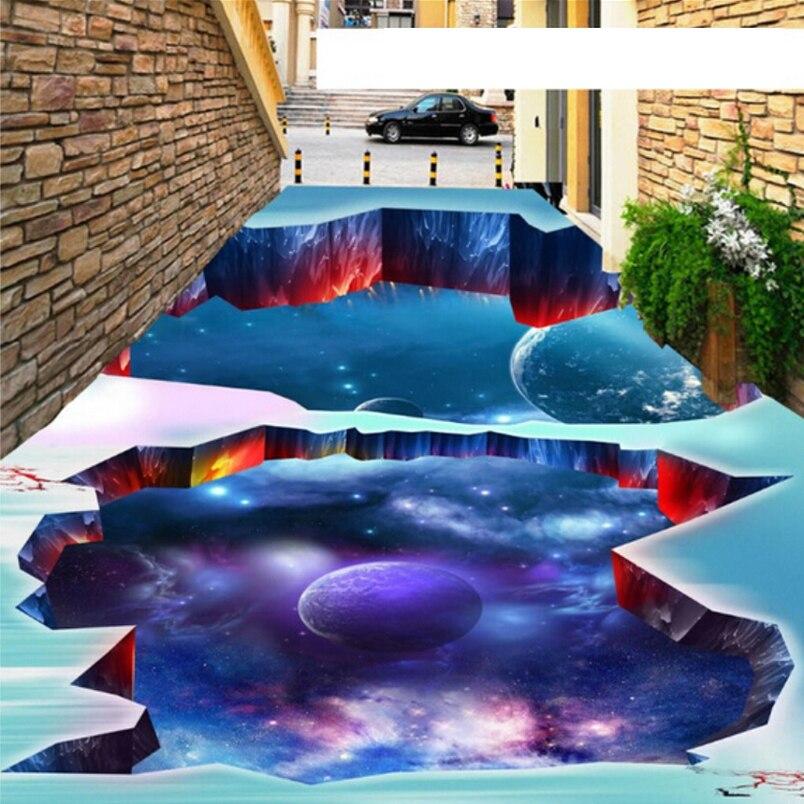 Custom 3D Floor Sticker Photo Wallpaper Modern Designs Planet Floor Murals PVC Waterproof Self-adhesive Wallpaper For Walls 3D