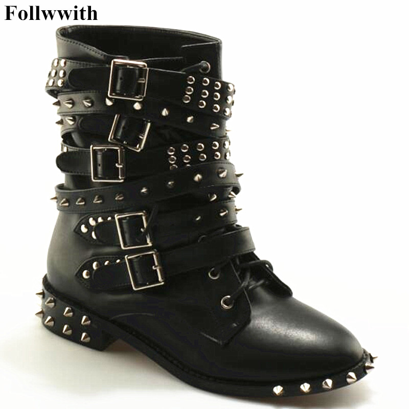 2017 Autumn Winter Ladies Shoes Women Black Rivets Boots Buckle Gothic Punk Ankle Strap Motorcycle Combat Boots Free Shipping women martin boots 2017 autumn winter punk style shoes female genuine leather rivet retro black buckle motorcycle ankle booties