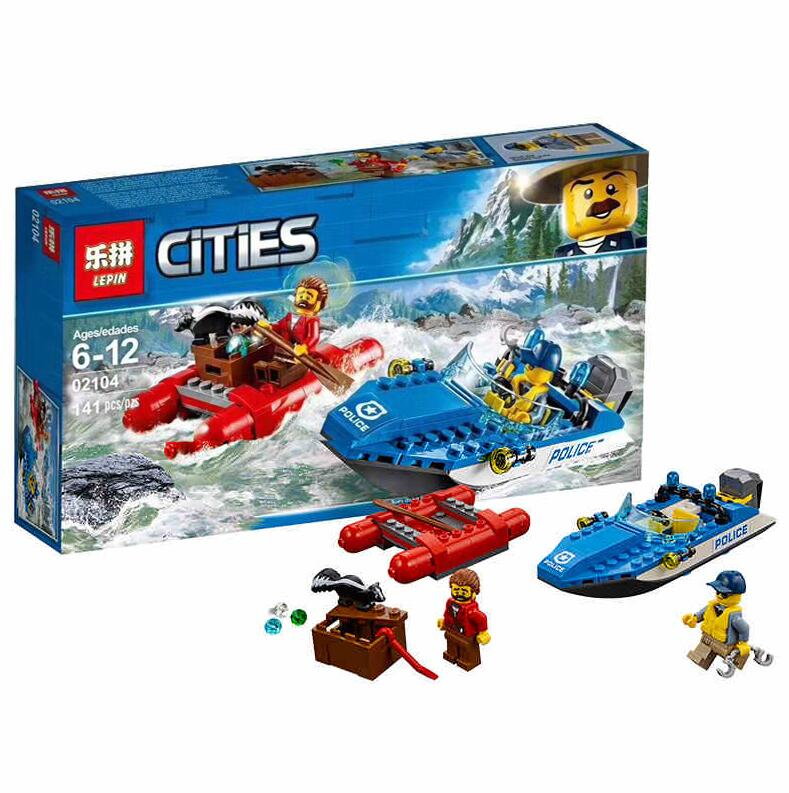 Lepin 02104 City Series The River Rescue Boat Modle Building Blocks Brick Boy Toys Compatible LegoINGlys 60176 a toy a dream lepin 24027 city series 3 in 1 building series american style house villa building blocks 4956 brick toys