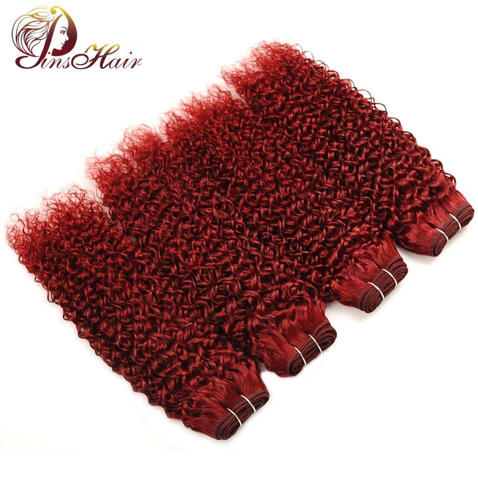 Pinshair Burgundy Bundles Bold Red 99J Malaysian Jerry Curly Hair 4 Bundles Human Hair Weave Extensions Non Remy Thick Bundles