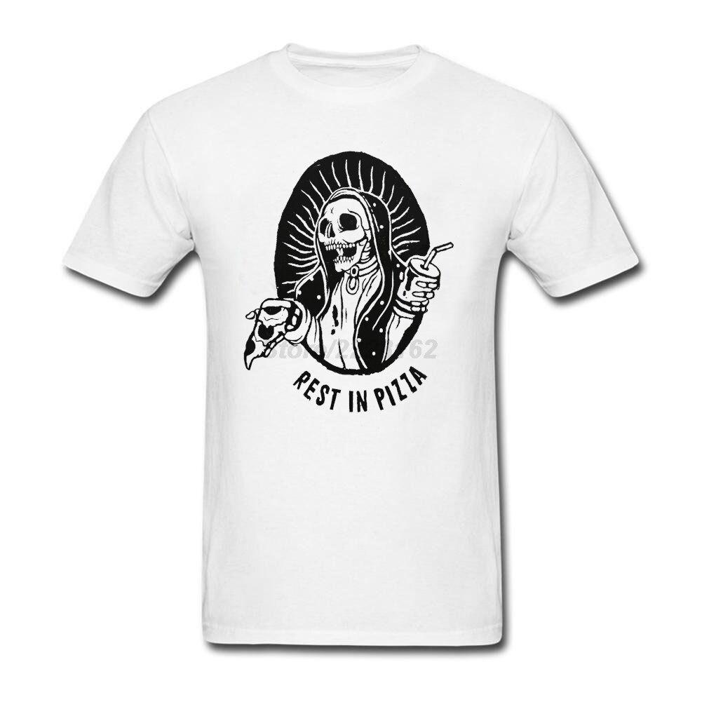 White t shirt for design - Design Tshirt Men With Rest In Pizza For Men Music Theme Funny Skull T Shirt Men