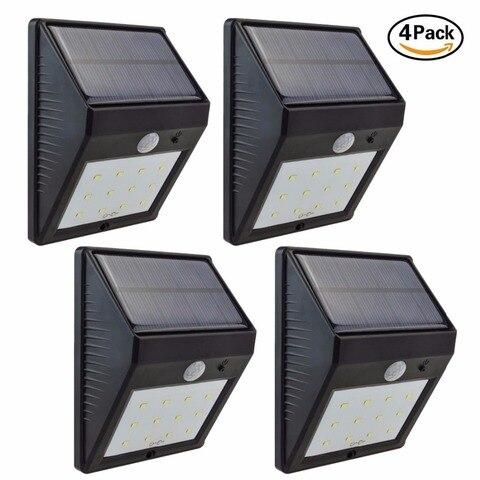 4pcs 12 ip65 movido a energia solar sensor de movimento pir sem fio a prova