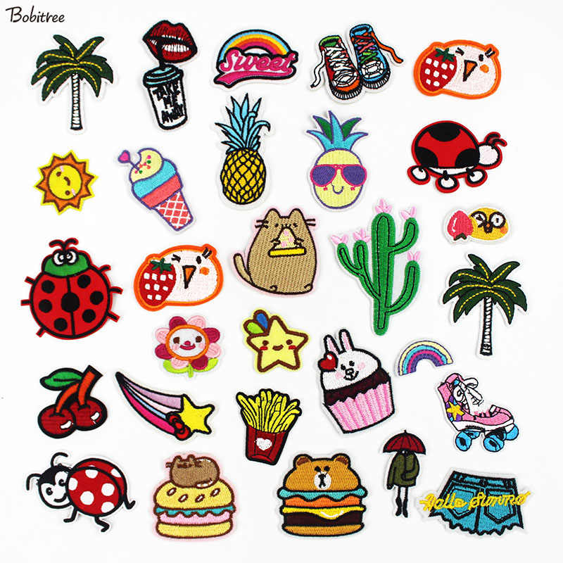 Cartoon Cute Small Patches Iron on Transfers For Clothing Sewing Appliques Stickers for Kids Jacket Bags Decoration