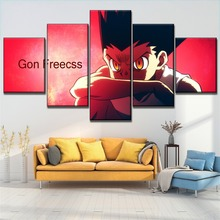 On Canvas Printing Type And The Wall DecorativeHunter x Hunter Animation Poster Modular Art 5 Piece Gon Freecss Picture