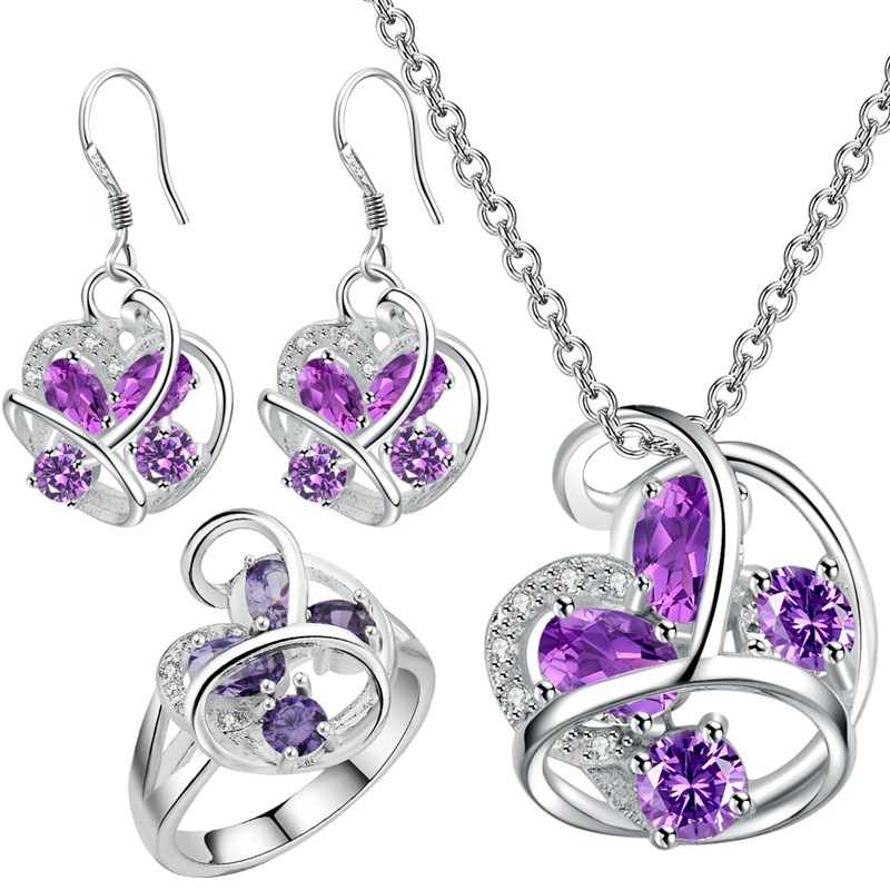 Pendant necklace Earrings ring 925 European all match Crystal jewelry jewelry set katami new suit brinco wedding silver in Bridal Jewelry Sets from Jewelry Accessories