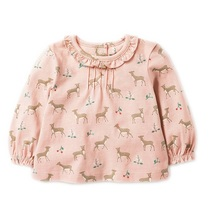 2-7 Years  Baby Girls T-Shirt Long Sleeve Cotton Cartoon Deer Printing Tops Toddler Girl Children T Shirts KF068