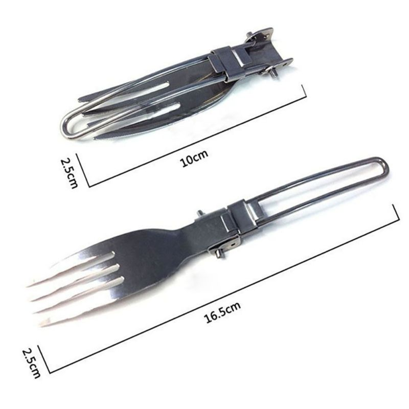 Stainless Steel Folding Knife Fork and Spoon Outdoor Camping Picnic Tableware Table Utensilios De Cocina Survival Game