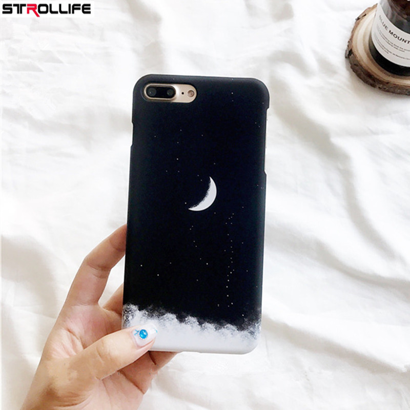 Helpful Strollife Fashion Gradient Starry Sky Black Phone Cases For Iphone 8 Case Cartoon Moon Hard Pc Back Cover For Iphone 8 4.7coque Limpid In Sight Phone Bags & Cases