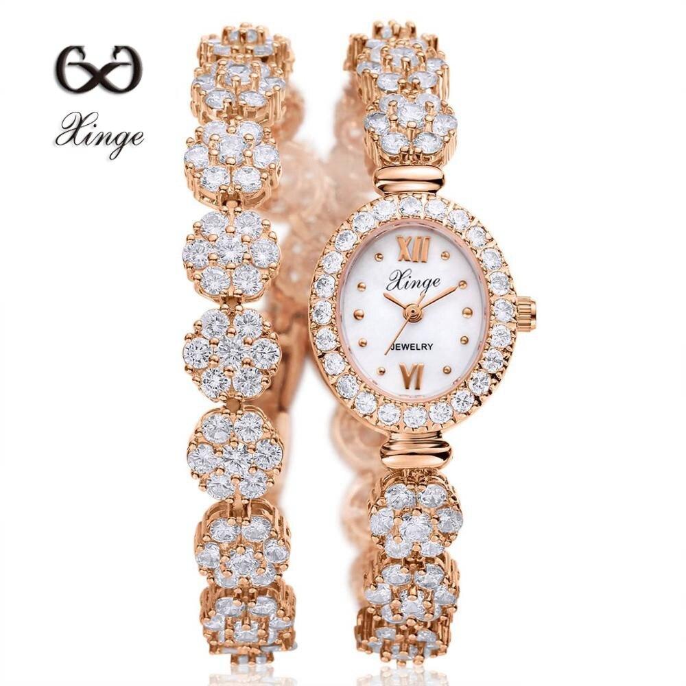 ФОТО Xinge 2016 30M Waterproof Gold Natural Zircon Wrist Watch for Women Luxury Ladies Bracelet Watch Women Dress Watch XG1025