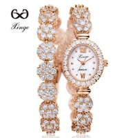 Xinge 2017 30M Waterproof Gold Natural Zircon Wrist Watch For Women Luxury Ladies Bracelet Watch Women