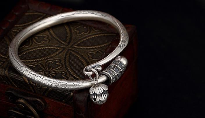 Bracelet en argent Sterling S990 990 avec motif lotusBracelet en argent Sterling S990 990 avec motif lotus