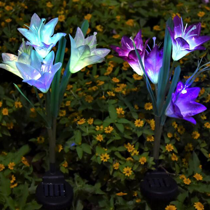 Solar Lights For Garden Decoration LED Solar Lamp Colorful Lily Flower Christmas Outdoor Lighting Waterproof Solar Light (14)
