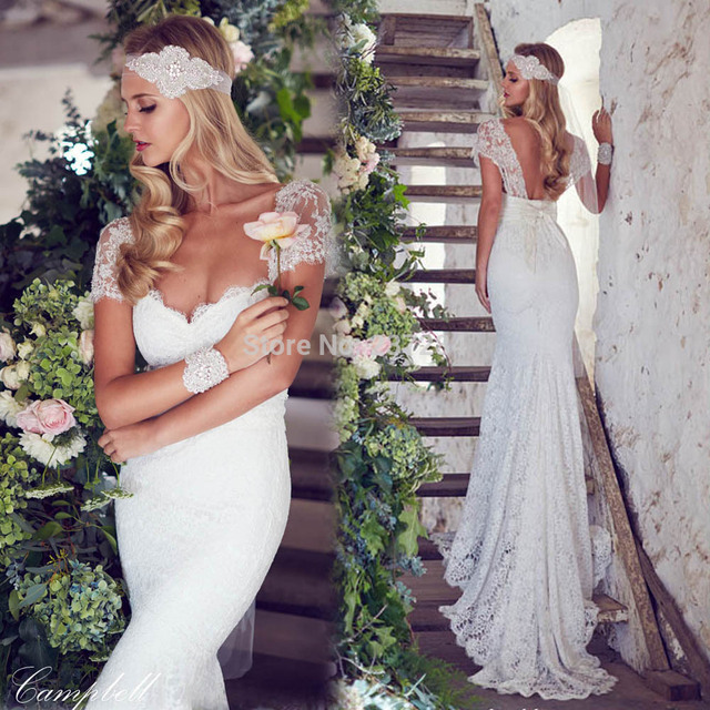 Anna Campbell Wedding Gowns: Hippie Boho Anna Campbell Cap Sleeved Mermaid Lace Wedding